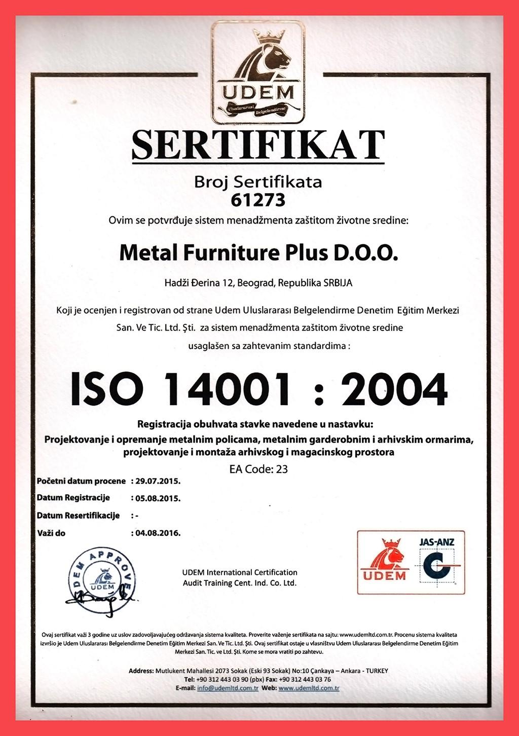 Sertifikat ISO - 14001 : 2004