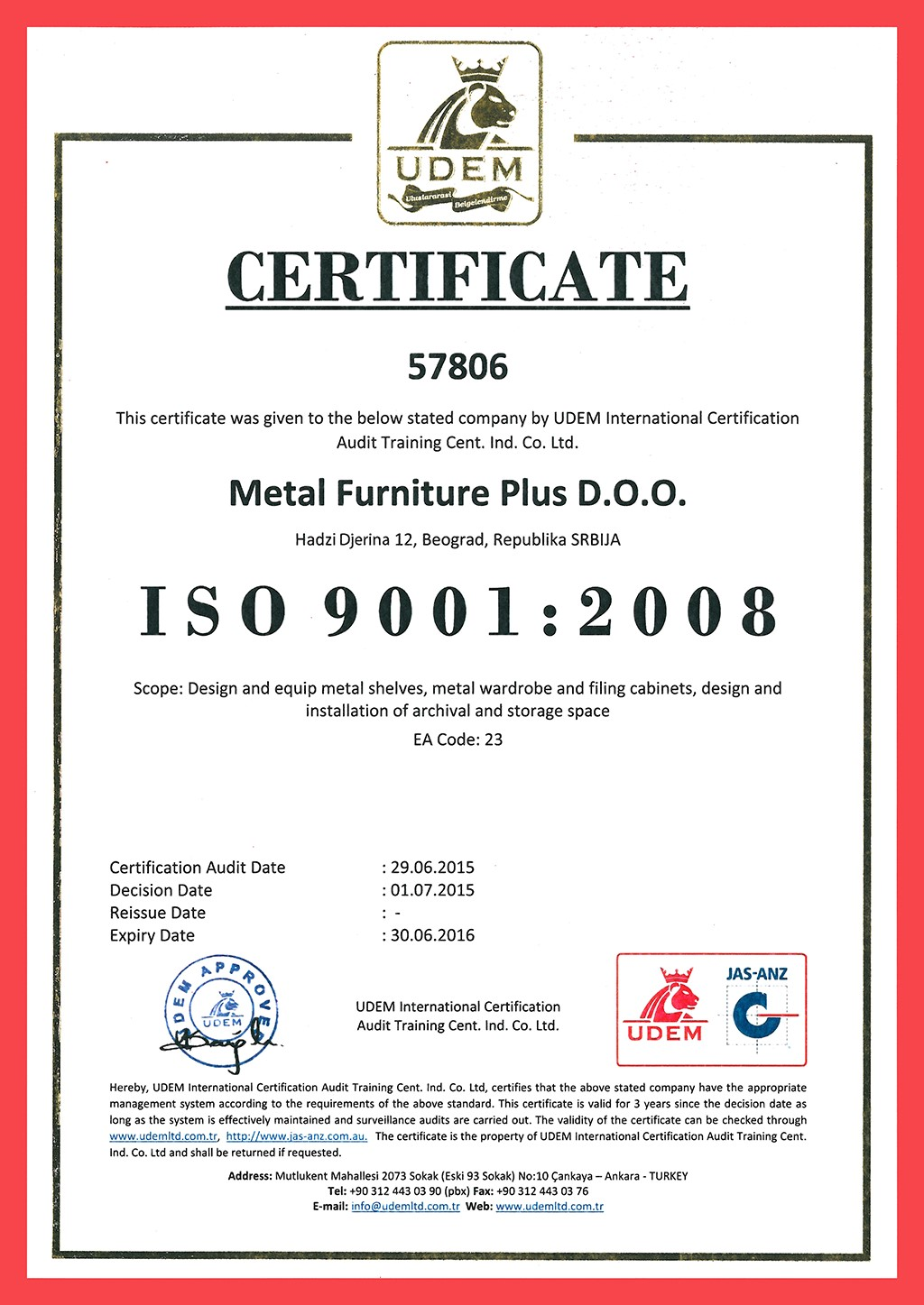 Certificate ISO 9001 : 2008