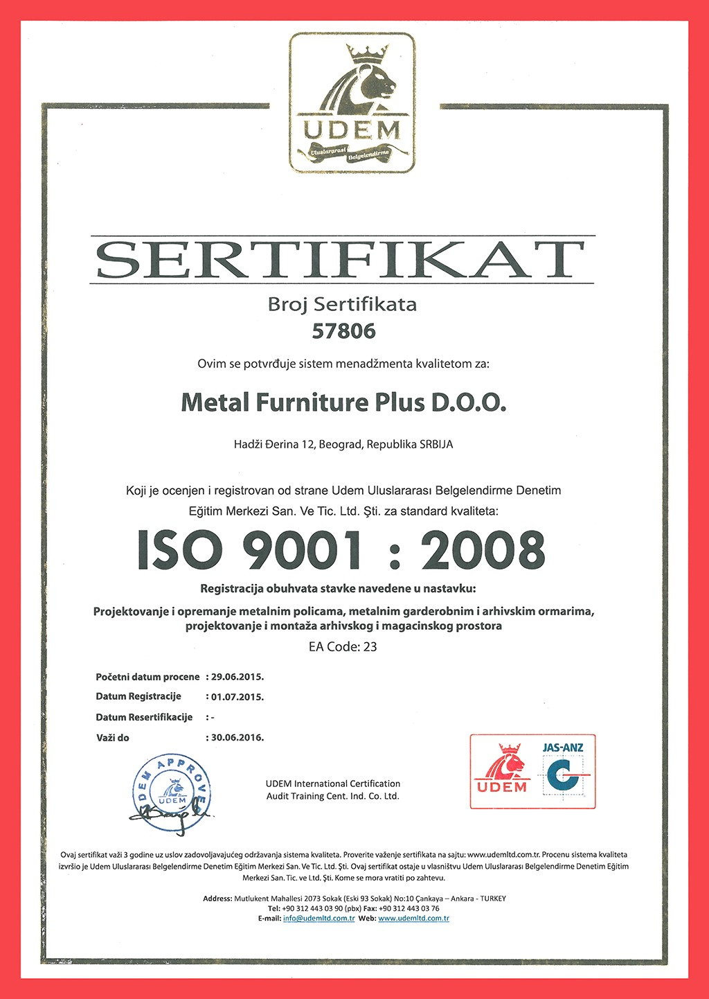 Sertifikat ISO 9001 : 2008