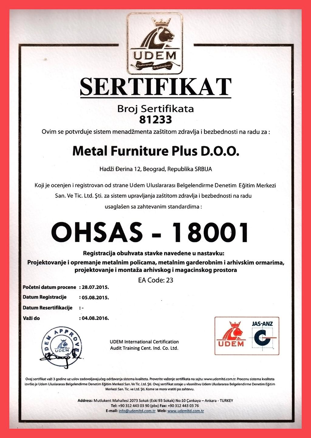 Sertifikat OHSAS - 18001